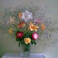 Kwiaty z działki moich rodziców :) #bukiet #kwiaty #rośliny #lilie #róże