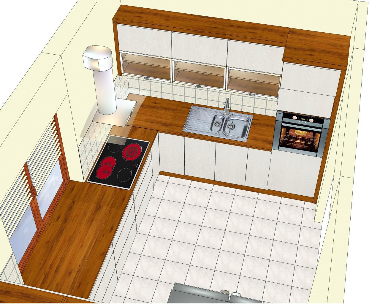 Projekt kuchni  wizualizacje  Projektowanie wnętrz   -> Projekt Kuchni Z Niskim Oknem