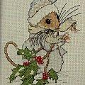 """Wzór powstał na podstawie ilustracji Priscilli Hillman do książki autorskiej """"A Marry-Mouse Christmas ABC"""" #HaftKrzyżykowy #rękodzieło"""