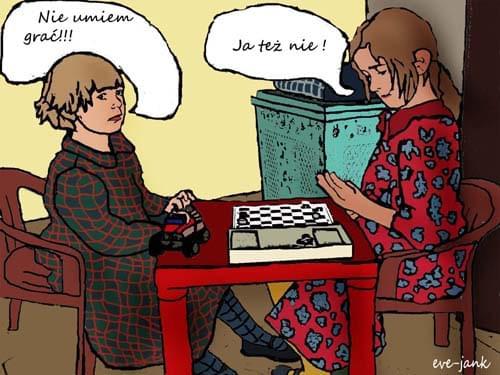 Gra w warcaby, rysunek tabletem