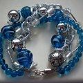 misz-masz niebieski #bransoletka #biżuteria #łańcuch #niebieski #szkło #miszmasz